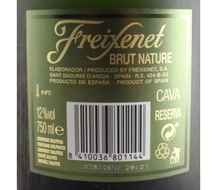 CAVA BRUT NATURE FREIXENET 75 CL.